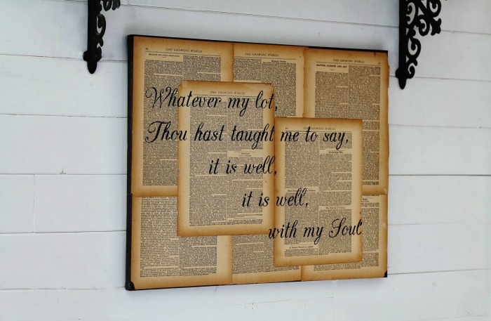 Recycled Craft Repurposed Book Page Canvas Wall Art It Is Well With My Soul by Knick of Time.net