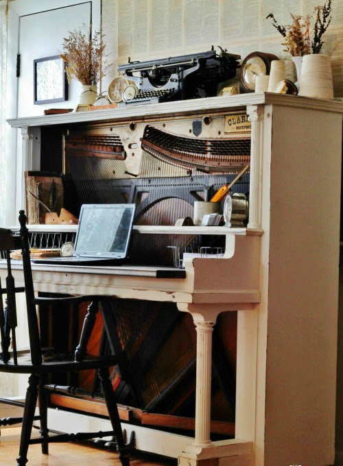 Repurposed Antique Piano Desk | www.knickoftime.net - How To Turn An Antique Piano Into An Amazing Desk! Knick Of Time