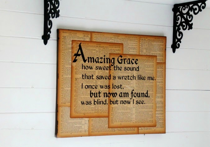 Amazing Grace Sign Book Page Wall Art by Knick of Time