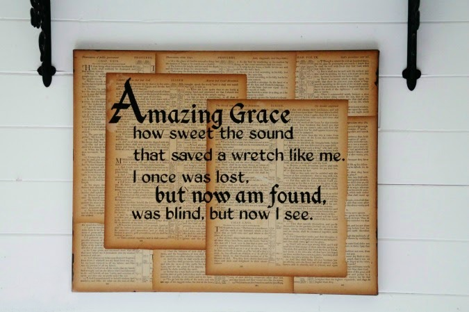 Amazing Grace Sign on Book Pages Wall Art by Knick of Time