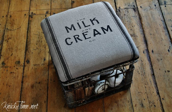 Milk Crate Padded Storage Stool | www.knickoftime.net