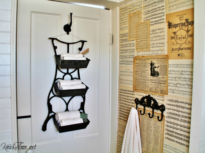 Antique sewing machine epurposed into farmhouse wall bins | Turn Old Junk into Fabulous Farmhouse Decor |via www.knickoftime.net