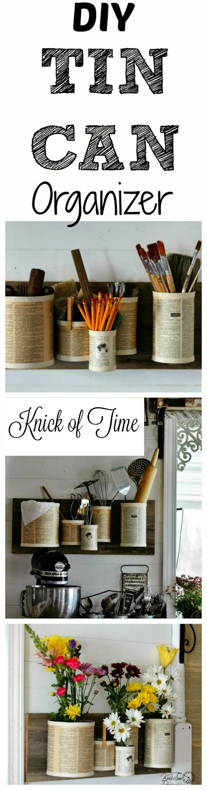 Repurposed Tin Can Office or Kitchen Organizer | #KnickofTime #tincan #repurpose #reuse #upcycle #organize | knickoftime.net