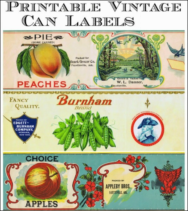 Vintage Grocery Can Labels Printables from Knick of Time