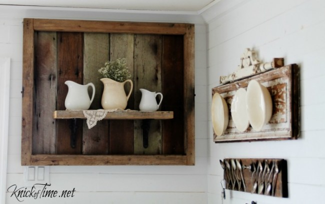 Ironstone pitchers on rustic wooden shelf - KnickofTime.net