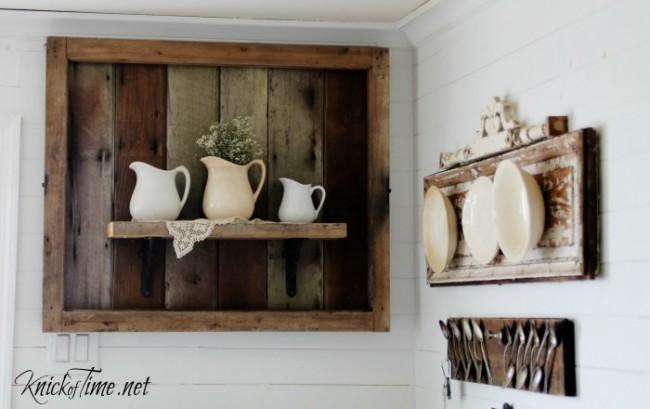 Ironstone pitchers on rustic wooden shelf - KnickofTime.net