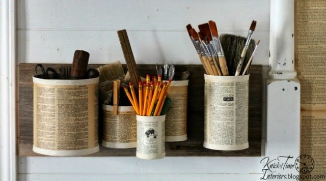 Recycled tin can organizer by Knick of Time | knickoftime.net
