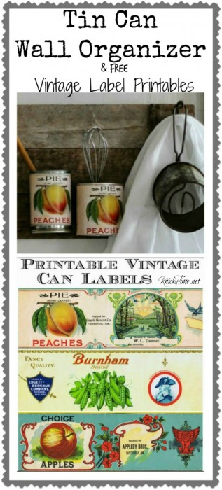 Repurposed Tin Can Wall Organizer and Printable Tin Can Labels | www.knickottime.net
