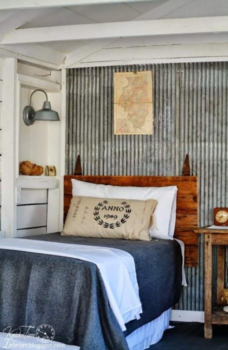 barn door headboard in rustic farmhouse decor guest room - KnickofTime.net