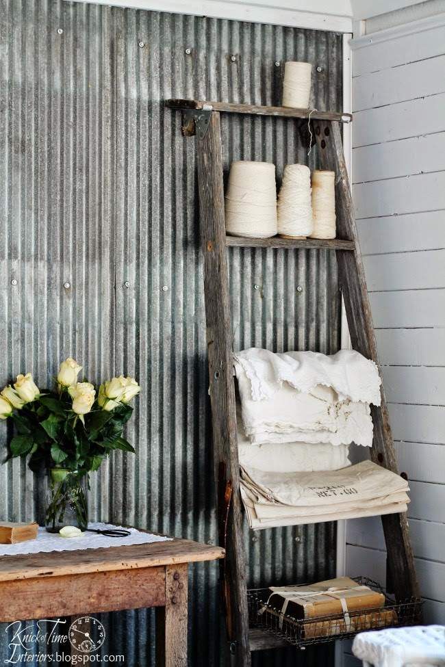 Repurposed Ladder Shelf in a Farmhouse Guest Room | www.knickoftime.net