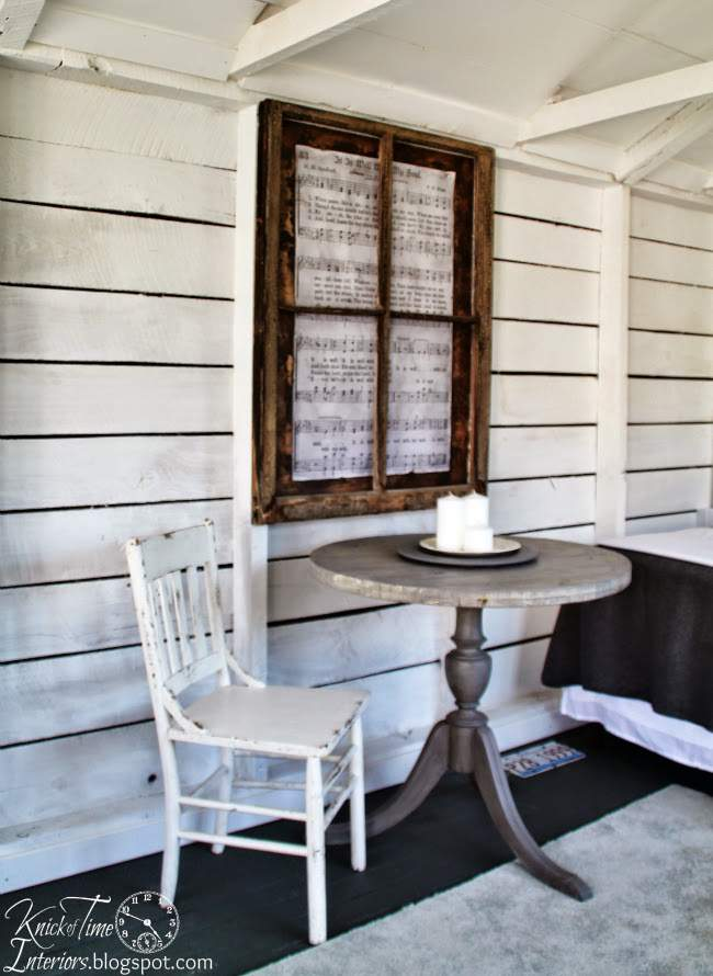 Repurposed cable spool table and antique window | www.knickoftime.net