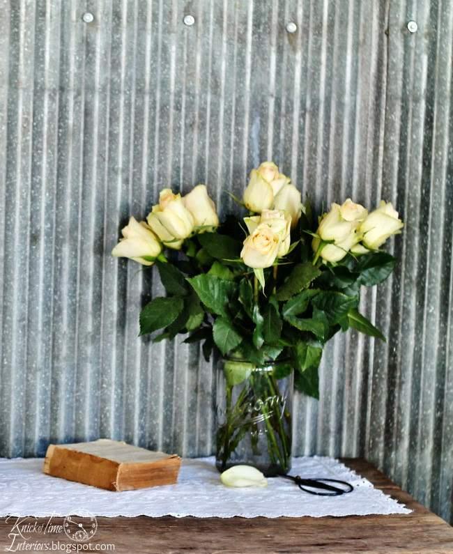 White Roses in a Mason Jar Vase | www.knickoftime.net