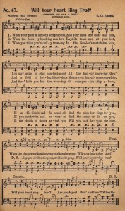 Free Printable Antique Music Hymn Book Page – Will Your Heart Ring True