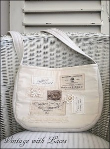 Vintage Inspired Purse with French Labels