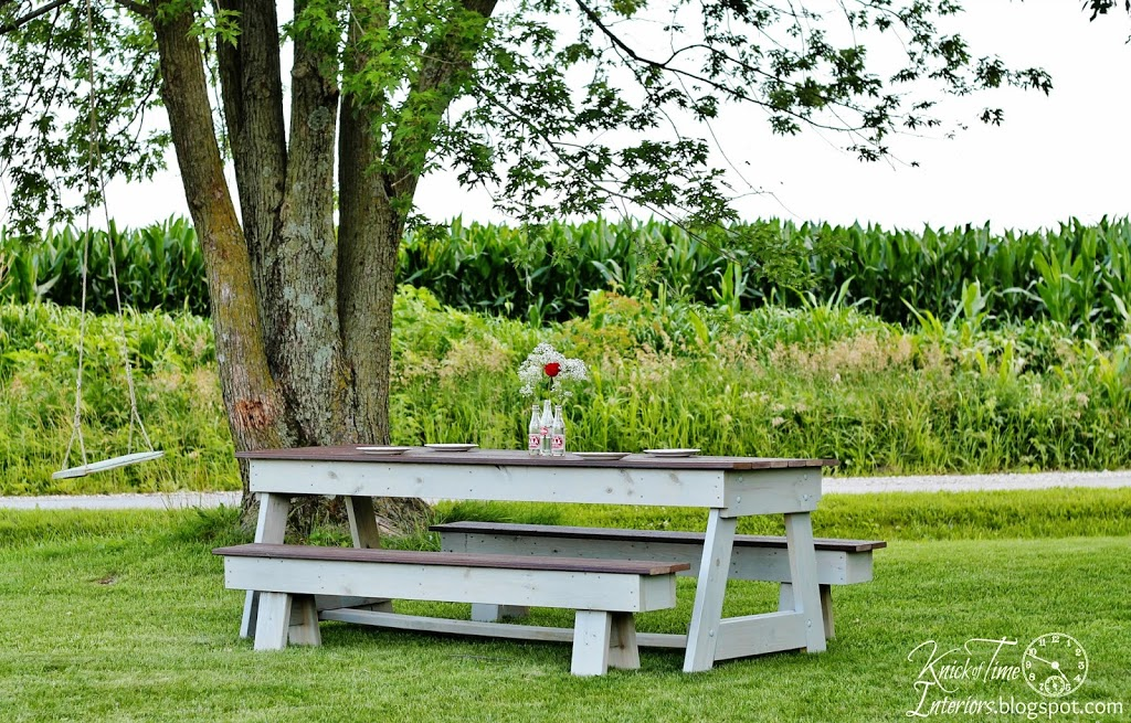 wooden picnic table via Knick of Time