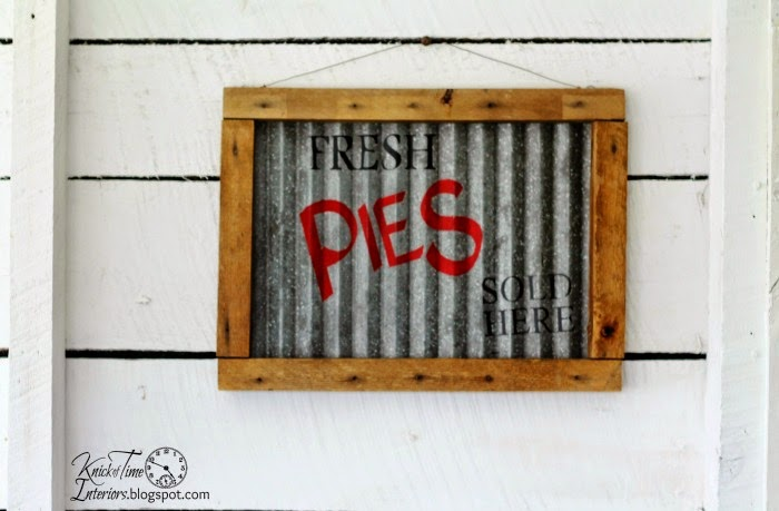 Corrugated Metal Sign with Plank Wall Backdrop via Knick of Time @ knickoftimeinteriors.blogspot.com