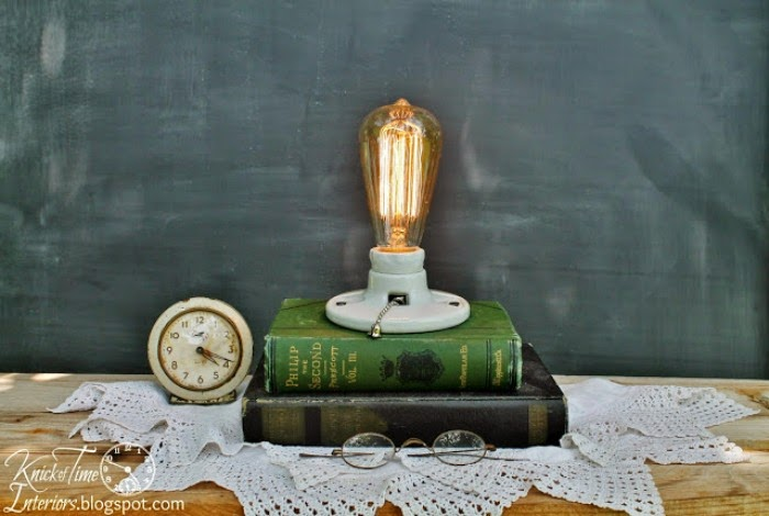 DIY Book Stack Vintage Light Bulb Light