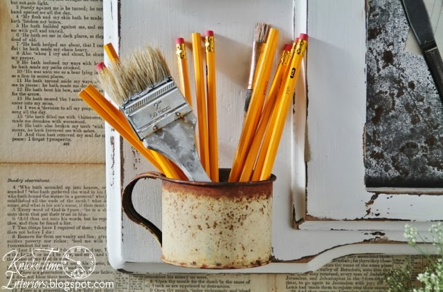 Number 2 Pencils and Antique Rusty Tin Cup