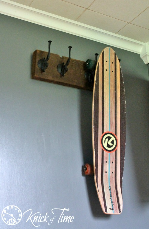 Salvaged Barn Wood Skateboard Holder