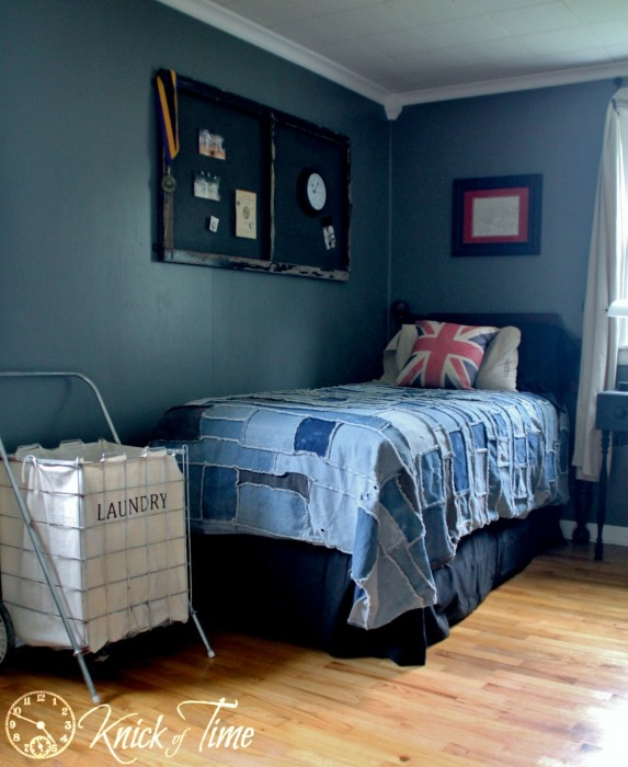 Teen Room Makeover Denim Blue Gray British Theme