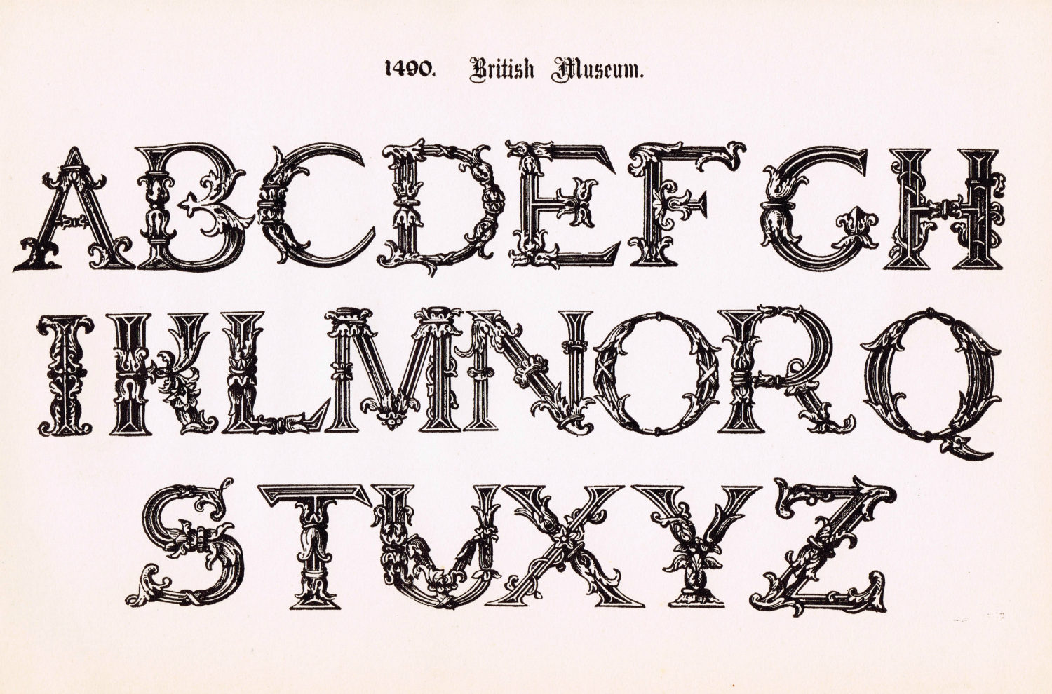 Antique Alphabet Printable Ornate Font