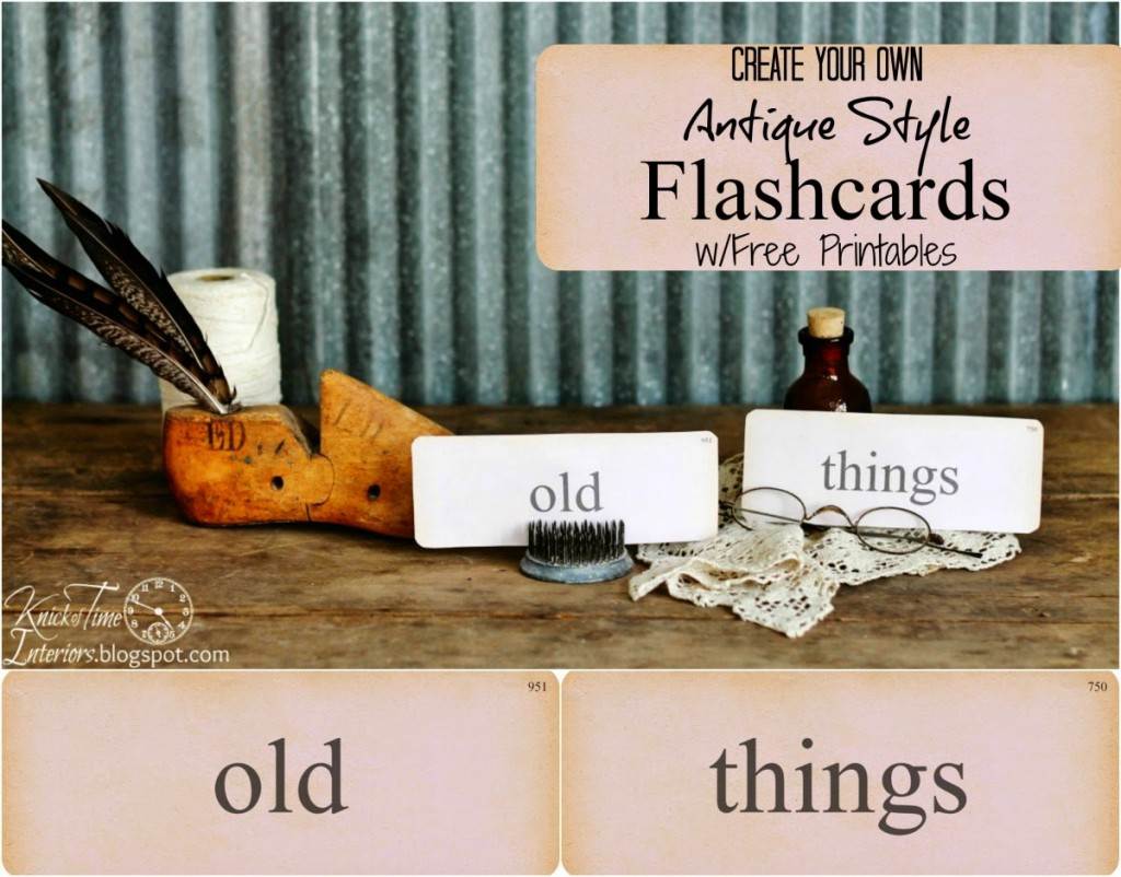 Antique Flash Card Printables via Knick of Time