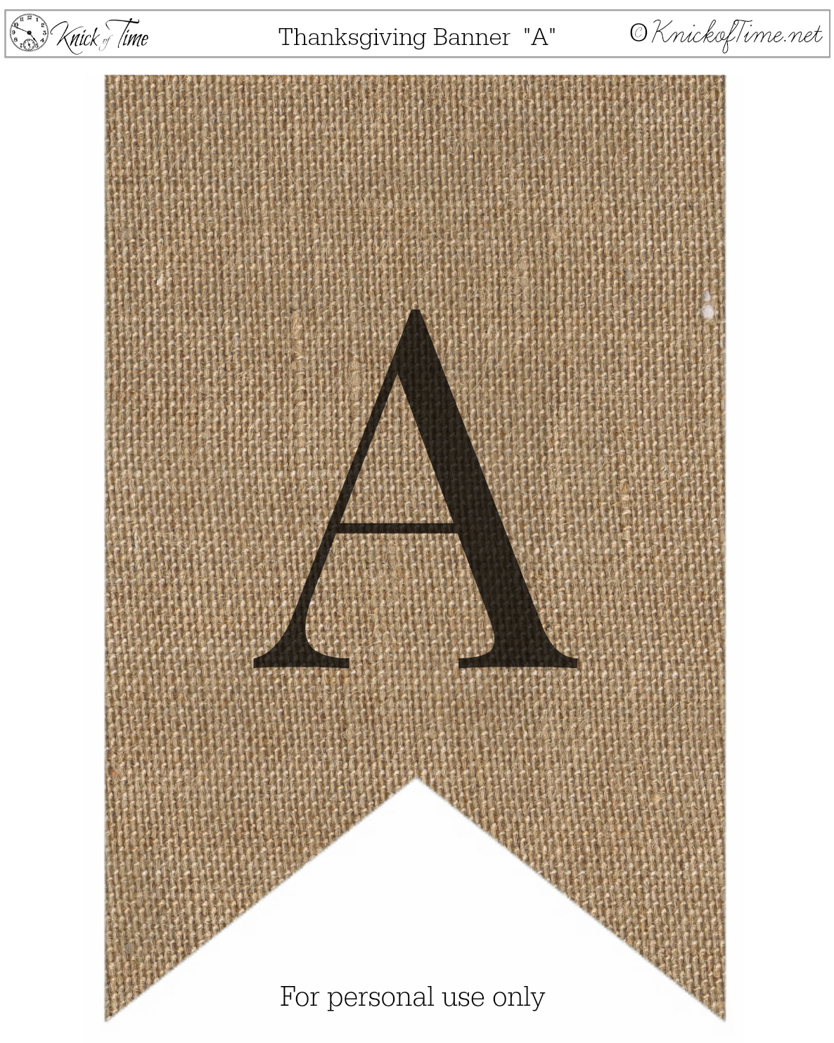 graphic regarding Printable Banners identified as Rustic Burlap Banner Letters Knick of Season