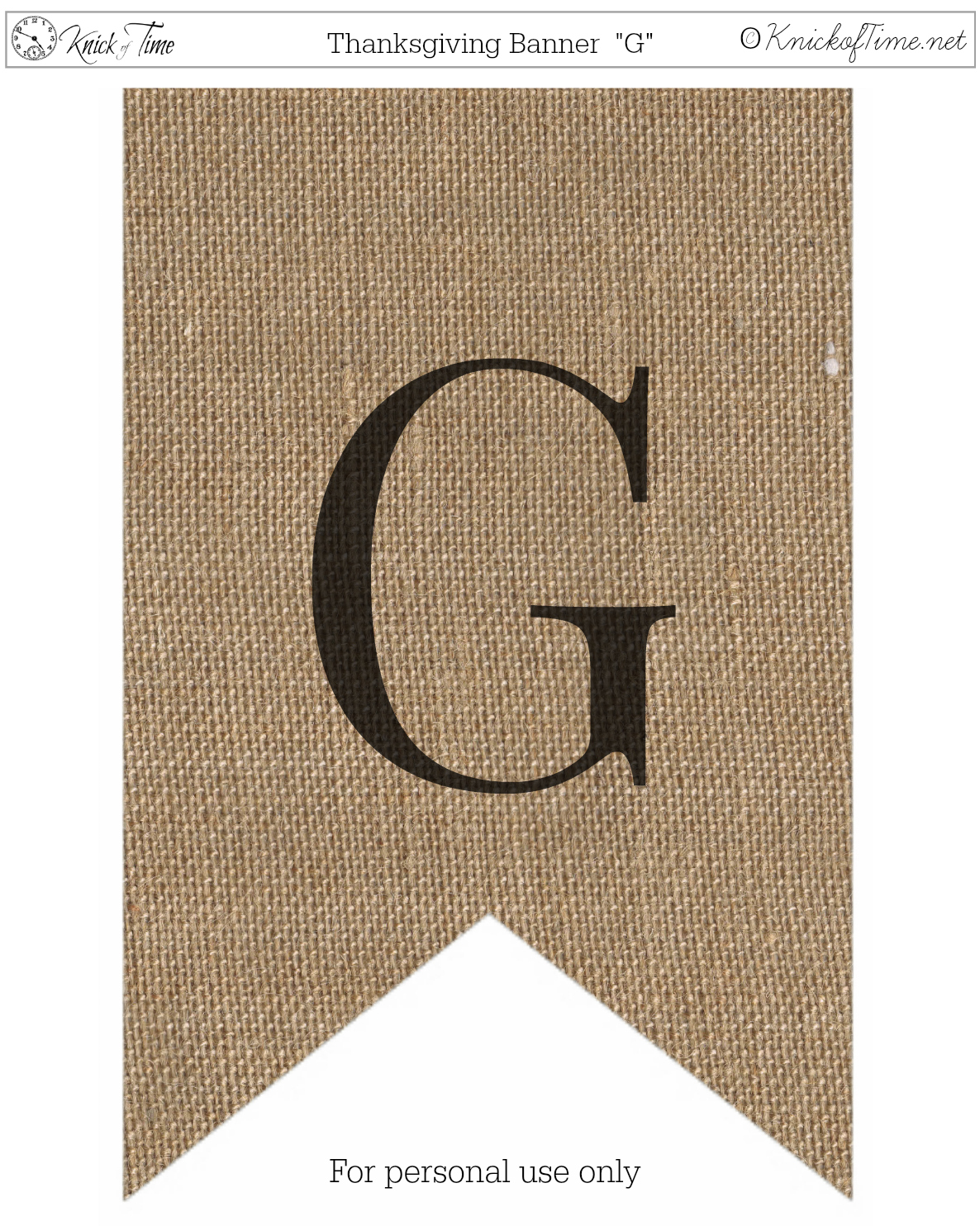 image relating to Printable Thanksgiving Banners called Rustic Burlap Banner Letters Knick of Period