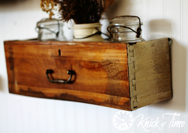 Repurposed Drawer Storage Shelf