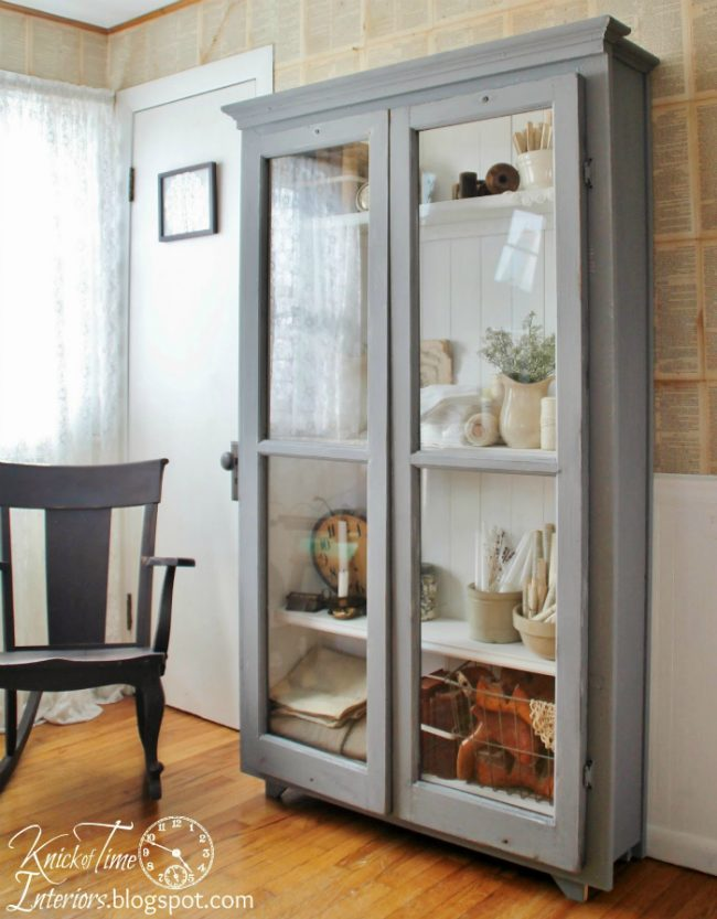 Repurposed Windows on Antique Style Cupboard