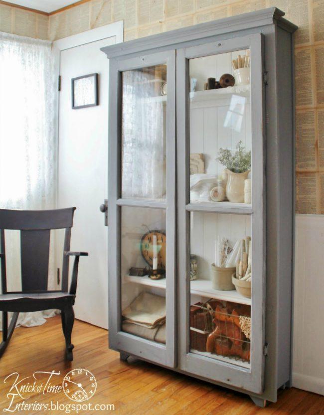 Repurposed Windows on Antique Style Cupboard