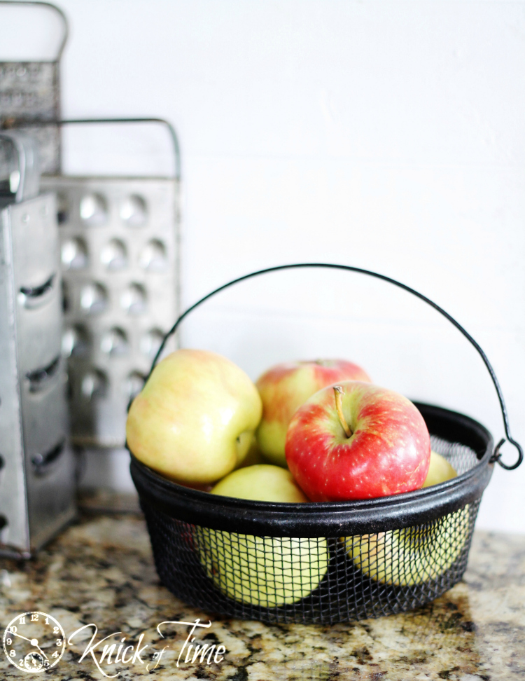 vintage wire basket with apples