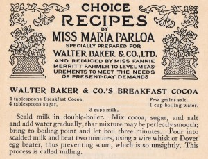 Antique Recipe Card Baker and Co. cocoa