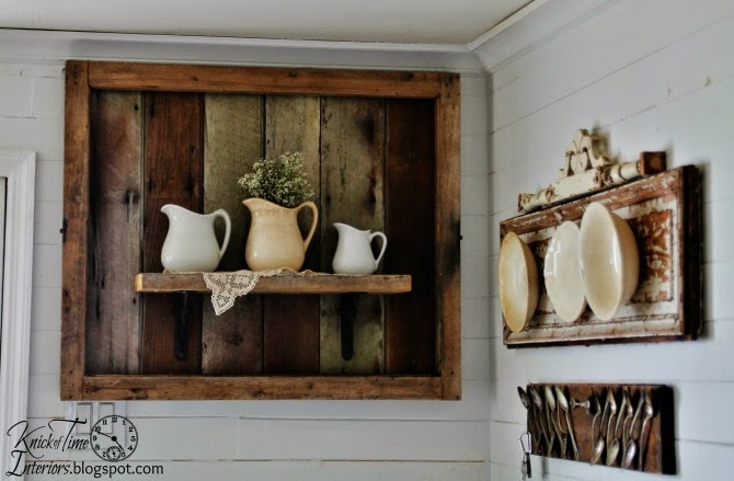 Rustic Salvaged Wood Shelf Display by http://knickoftimeinteriors.blogspot.com/