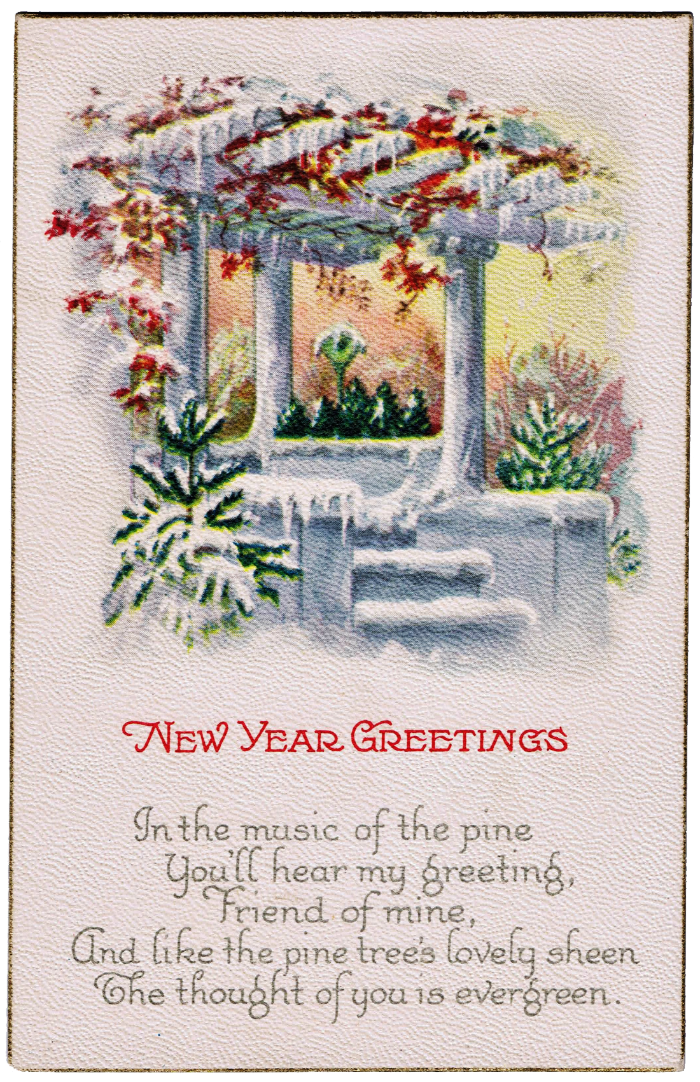 antique postcard new year