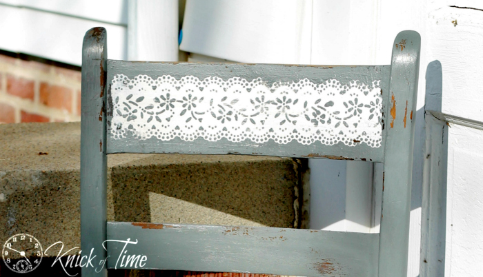lace stencil on furniture