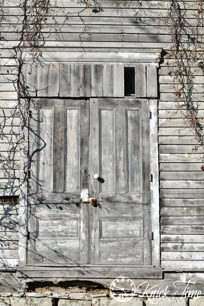 old wooden door on town building