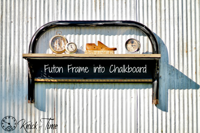 repurposed futon bed frame chalkboard
