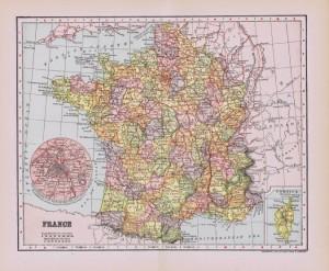 Antique Paris and France Map Printables
