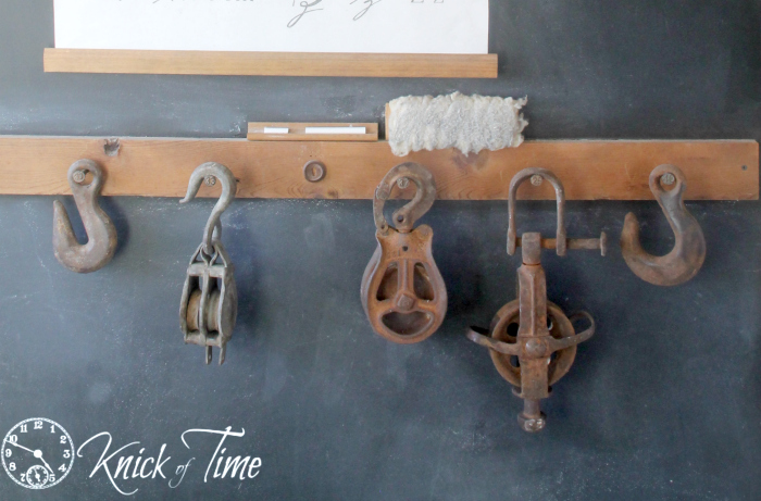 Old barn pulleys and hooks knick of time for Uses for old pulleys