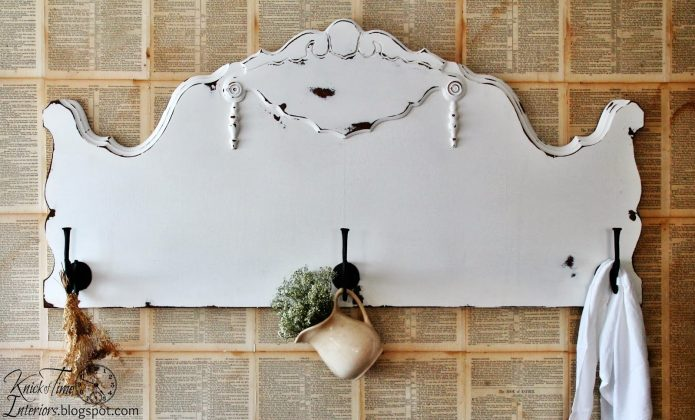 Repurposed Antique Headboard Coat Rack