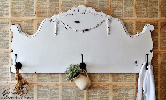 Repurposed Antique Headboard Coat Rack