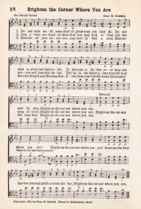 Antique Hymn Printable Music - Brighten the Corner Where You Are