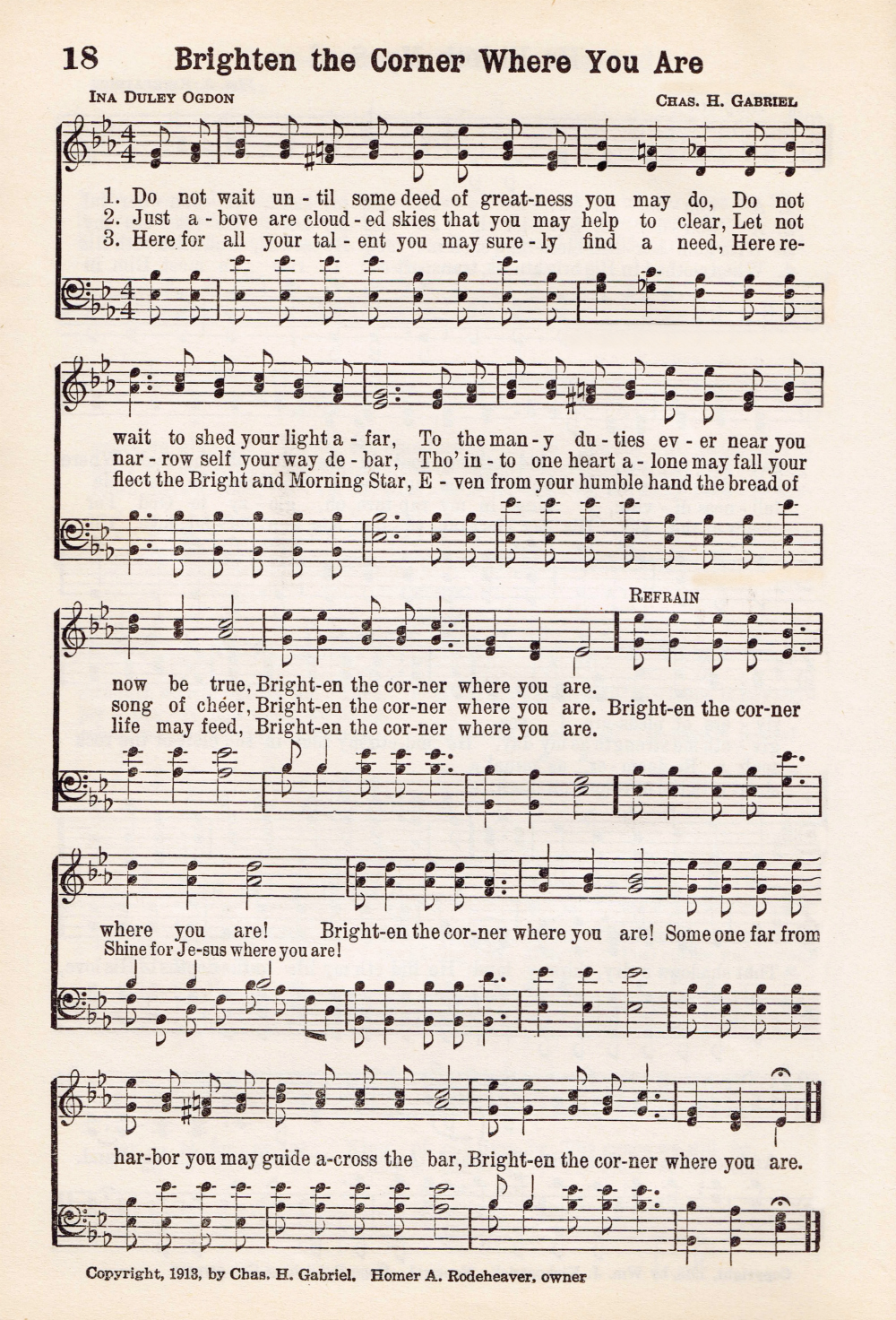 graphic about Printable Hymns identify Antique Hymn Printable Audio - Brighten the Corner The place Oneself