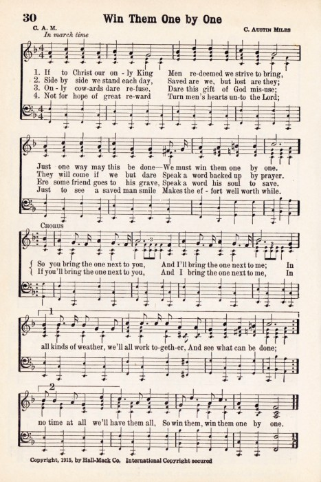 Antique Hymn Printable Music - Win Them One by One