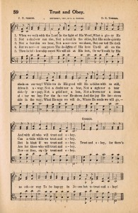 Antique Hymn Book Page – TRUST & OBEY {Sonday}
