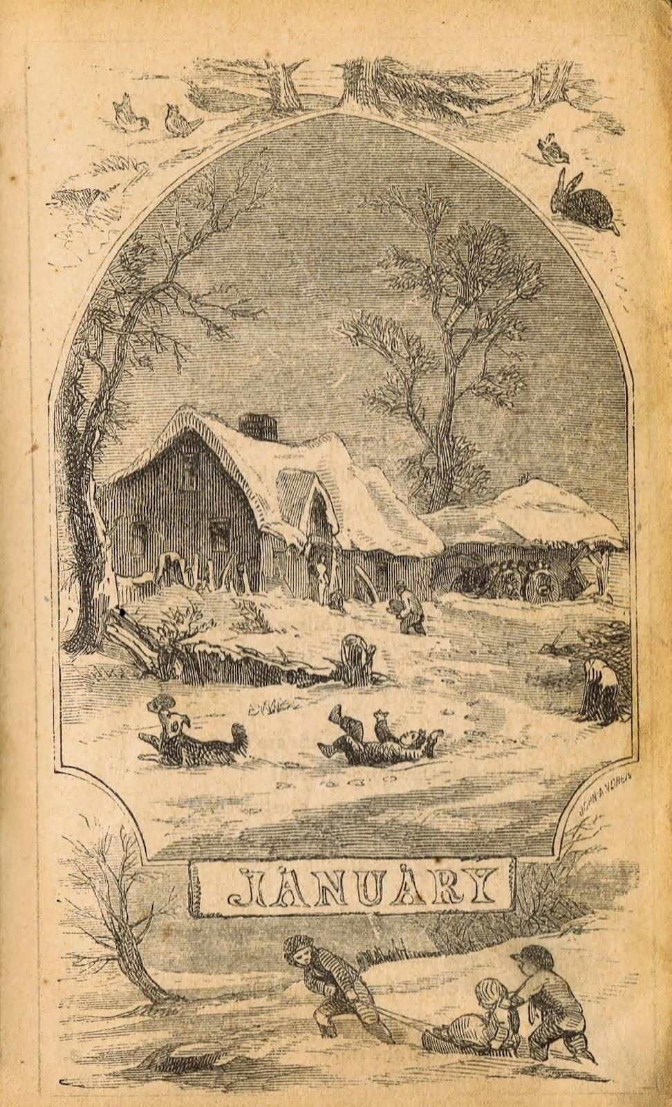 Antique Winter Sledding Illustrations - Antique Graphics ...