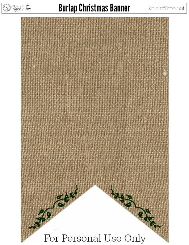 Christmas Banner Burlap Green
