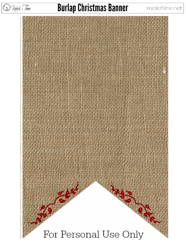 Christmas Banner Burlap Red
