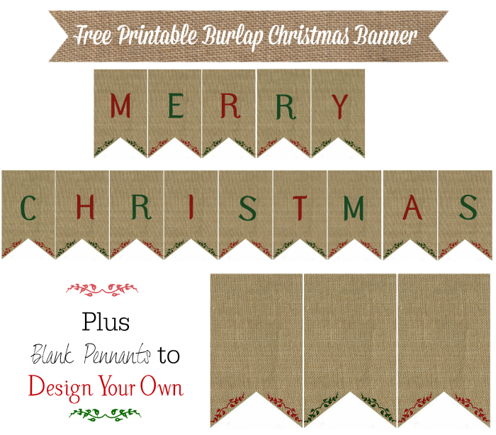 Burlap Banner Christmas Printable